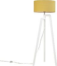Moderne Stehleuchte weiß mit Lampenschirm in