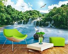 Moderne Tapete 3D tapety Waldwasserfalllandschaft