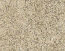 Moderne Tapete beige mit gestanztem Blumenmotiv