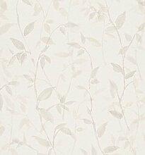Moderne Tapete Natur Design mit Blätter Boden Elfenbein und Druck beige 897821Freja Soft Touch
