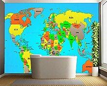 Moderne Tapete, Politische Weltkarte, Kindertapete