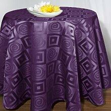 Moderne Tischdecke in lila mit attraktivem Karo-Muster - 170cm rund - Neu - Exklusive Serie - Schlaufenschals und Stuhlhussen im gleichen Design erhältlich - auch in den Farben orange, hellgrün, rot und champagner erhältlich