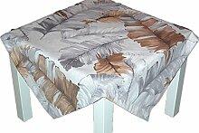 MODERNe TISCHDECKE Tischläufer SEKT Motiv FEDERN hellgrau braun - edler Look für Ihr Zuhause (Mitteldecke 85x85 cm)
