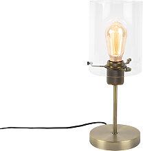 Moderne Tischlampe Bronze mit Glas auf Standard -