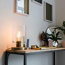 Moderne Tischlampe Bronze mit Glaskuppel