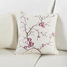 Moderne und einfache Baumwolle bestickt Kissenbezug/Amerikanische Stickerei Kissen Büro Sofa-Bett Kissenbezug Auto-G 45x45cm(18x18inch)VersionA
