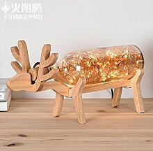 Moderne und Minimalistische idyllische Holz- lampen Massivholz Tiffany-lampen Schlafzimmer Bett Lampen