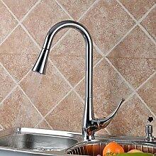 Moderne verchromt Kupfer ausziehbare Waschbecken Wasserhahn Wasserhahn - Silber