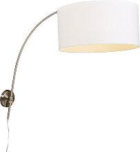 Moderne Wandbogenlampe Stahl mit weißem Schirm