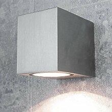 Moderne Wandlampe außen Silber GU10 quadratisch