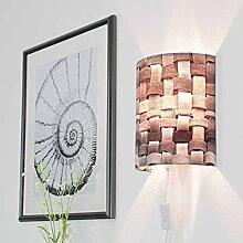 Moderne Wandlampe Grau Schirm aus geflochtenem