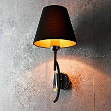 Moderne Wandleuchte in schwarz orange inkl. 1x 6W E14 LED 230V Wandlampe aus Metall Stoff & Glas für Wohnzimmer Schlafzimmer Lampe Leuchten innen Beleuchtung
