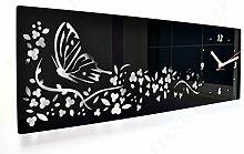 Moderne Wanduhr Schmetterling in Blumen,