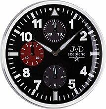 Moderne Wanduhr Uhr mit Chronograph Design Quarzuhr Quarz schwarz
