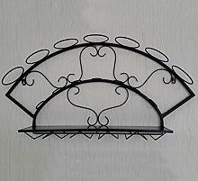Moderne Weinregal hängende Weinschrank Weinglas Rahmen Wandventilator Aufhänger Weinregal ( Farbe : Schwarz )