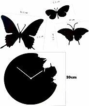Moderne weiße Schmetterlings-Aufkleber DIY Home Decor Neuheit Analoge Wanduhr Indoor Schwarz