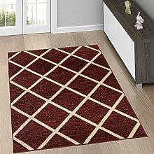 Moderne Wohnzimmer Teppiche - TEPPICH in Braun mit KARO Muster - Marokkanische Kollektion S - XXL 120 x 170 cm
