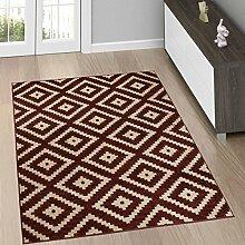 Moderne Wohnzimmer Teppiche - TEPPICH in Braun mit KARO Muster - Marokkanische Kollektion S - XXL 200 x 300 cm