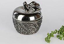 Moderne Zuckerdose Deko Dose in Form eines Apfels aus Keramik in schwarz Höhe 13 cm
