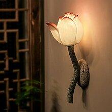 modernen chinesischen Spiegel Front Lotus Wall Lampen klassischen Garten Lotus Nachttisch Schlafzimmer Wandleuchte Kunstharz Creative Gang Teehaus Wand Leuchten Klassisch Pink Lampshade