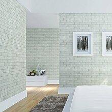 Modernen minimalistischen Wohnzimmer Grün PVC faux Backstein Muster Tapete Schlafzimmer TV Wand Hintergrundbild , pale green