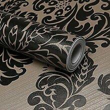 modernen Stil schälen und Stick schwarz Damast Tapete Selbstklebendes Vinyl Kontakt, Papier, Folie, für Küche Schränke Schubladen Regal Kommode Kunst und Handwerk Aufkleber 45x 500cm