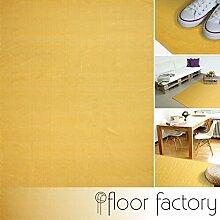 Moderner Baumwoll Teppich Living gelb 80x150cm - waschbarer Webteppich aus 100% Baumwolle