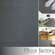 Moderner Baumwoll Teppich Living grau 140x200cm -