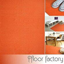 Moderner Baumwoll Teppich Living orange 140x200cm - waschbarer Webteppich aus 100% Baumwolle