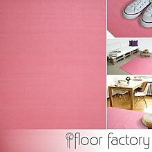 Moderner Baumwoll Teppich Living rosa 140x200cm - waschbarer Webteppich aus 100% Baumwolle