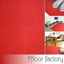 Moderner Baumwoll Teppich Living rot 120x170cm - waschbarer Webteppich aus 100% Baumwolle