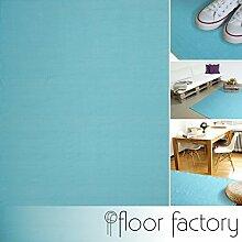 Moderner Baumwoll Teppich Living türkis/blau 120x170cm - waschbarer Webteppich aus 100% Baumwolle