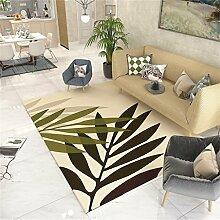 Moderner Bereich Teppich für Wohnzimmer - Green Leaves Muster - Nordic Style Border Mat für Schlafzimmer Esszimmer - Kurzflor Designer-Teppich ( größe : 200*300cm )