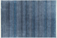Moderner blau gemusterter Teppich 160 x 230 cm