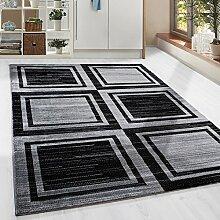 Moderner Design Geometrie gesäumt Guenstige Teppich Kurzflor Schwarz Grau meliert 5 Groessen Wohnzimmer Gästezimmer, Flur, Schlafzimmerm, Kueche, Läufer, Größe:80x300 cm