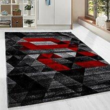 Moderner Design Guenstige Teppich Kurzflor abstrakt Kariert Dreieck Schwarz Grau Weiss Rot meliert 5 Groessen Wohnzimmer ver. Farben u. Groeßen, Größe:80x150 cm