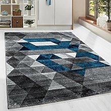 Moderner Design Guenstige Teppich Kurzflor abstrakt Kariert Dreieck Schwarz Grau Weiss Tuerkis meliert 5 Groessen Wohnzimmer ver. Farben u. Groeßen, Größe:120x170 cm