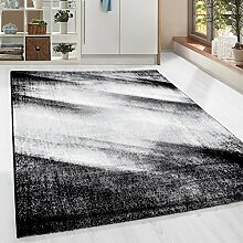 Moderner Design Guenstige Teppich Kurzflor abstrakt Schatten Schwarz Grau Weiss meliert 5 Groessen Wohnzimmer ver. Farben u. Groeßen, Größe:160x230 cm