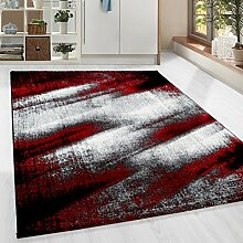 Moderner Design Guenstige Teppich Kurzflor abstrakt Schatten Schwarz Grau Weiss meliert Rot 5 Groessen Wohnzimmer ver. Farben u. Groeßen, Größe:200x290 cm