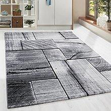 Moderner Design Holzstrucktur Guenstige Teppich Kurzflor Schwarz Grau meliert 5 Groessen Wohnzimmer Gästezimmer, Flur, Schlafzimmerm, Kueche, Läufer, Größe:80x300 cm