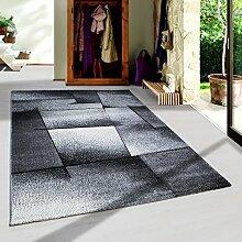 Moderner Design Konturschnitt Kurzflor Guenstige Teppich abstrakte Linien Schwarz Grau Weiss meliert 5 Groessen Wohnzimmer ver. Farben u. Groeßen, Größe:160x230 cm