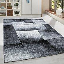 Moderner Design Konturschnitt Kurzflor Guenstige Teppich abstrakte Linien Schwarz Grau Weiss meliert 5 Groessen Wohnzimmer ver. Farben u. Groeßen, Größe:80x300 cm