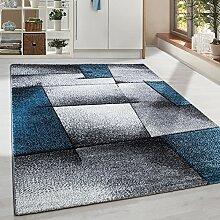 Moderner Design Konturschnitt Kurzflor Guenstige Teppich abstrakte Linien Schwarz Grau Weiss Turkis meliert 5 Groessen Wohnzimmer ver. Farben u. Groeßen, Größe:200x290 cm