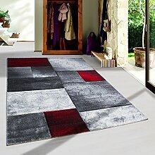 Moderner Design Konturschnitt Kurzflor Guenstige Teppich Geometrisch Patchwork Schwarz Grau Weiss Rot meliert 5 Groessen Wohnzimmer ver. Farben u. Groeßen, Größe:120x170 cm