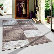 Moderner Design Konturschnitt Kurzflor Guenstige Teppich Geometrisch Patchwork Braun Mocca Beige Creme meliert 5 Groessen Wohnzimmer ver. Farben u. Groeßen, Größe:120x170 cm