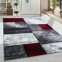 Moderner Design Konturschnitt Kurzflor Guenstige Teppich Geometrisch Patchwork Schwarz Grau Weiss Rot meliert 5 Groessen Wohnzimmer ver. Farben u. Groeßen, Größe:160x230 cm