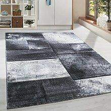 Moderner Design Konturschnitt Kurzflor Guenstige Teppich Geometrisch Patchwork Schwarz Grau Weiss meliert 5 Groessen Wohnzimmer ver. Farben u. Groeßen, Größe:80x150 cm