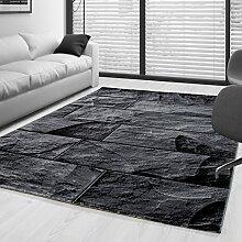 Moderner Design Stein Mauer Guenstige Teppich Kurzflor Schwarz Grau meliert 5 Groessen Wohnzimmer Gästezimmer, Flur, Schlafzimmerm, Kueche, Läufer, Größe:120x170 cm