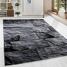Moderner Design Stein Mauer Guenstige Teppich Kurzflor Schwarz Grau meliert 5 Groessen Wohnzimmer Gästezimmer, Flur, Schlafzimmerm, Kueche, Läufer, Größe:80x300 cm