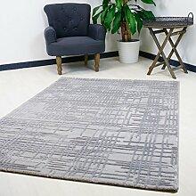 Moderner Design Teppich in Grau mit Farbeffekt staubhemmender Wohnzimmer Teppich in verschiedenen Größen hochwertig (120 x 170 cm)